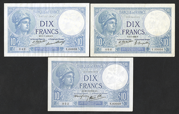 Banque de France 1926-1940 Group of 3 Issued Bank Notes