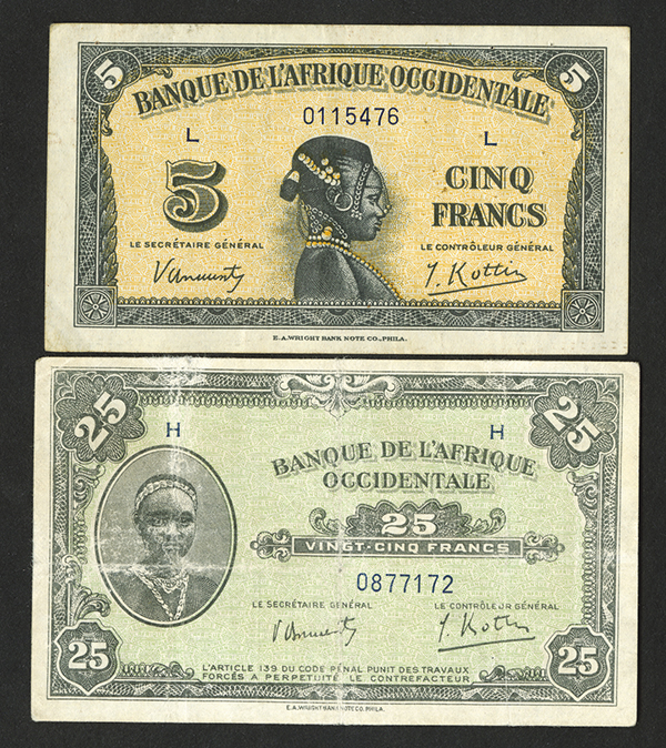 Banque de l'Afrique Occidentale WW II 1942 Bank Note Issue Pair