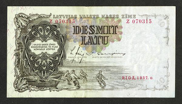 Latvijas Valsts Kases Zime. 1937 Issue.