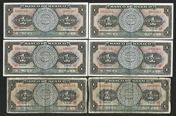 Banco de Mexico. 1954 Series.