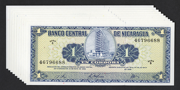 Banco Central de Nicaragua. 1968 Issue.