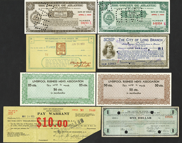 New Jersey, Ohio & South Carolina, 1933-34 Depression Scrip Assortment.