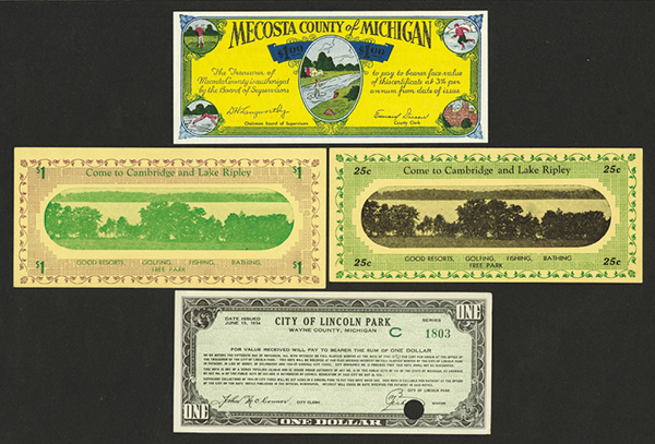 Wisconsin and Michigan 1933-34 Depression Scrip Note Assortment.