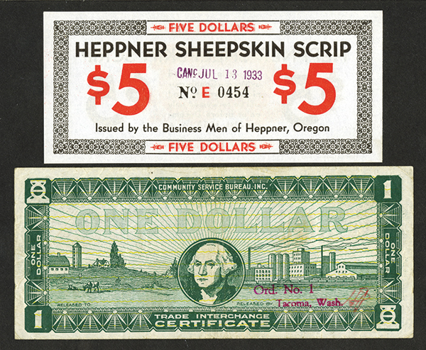 Oregon and Washington Depression Scrip Pair.