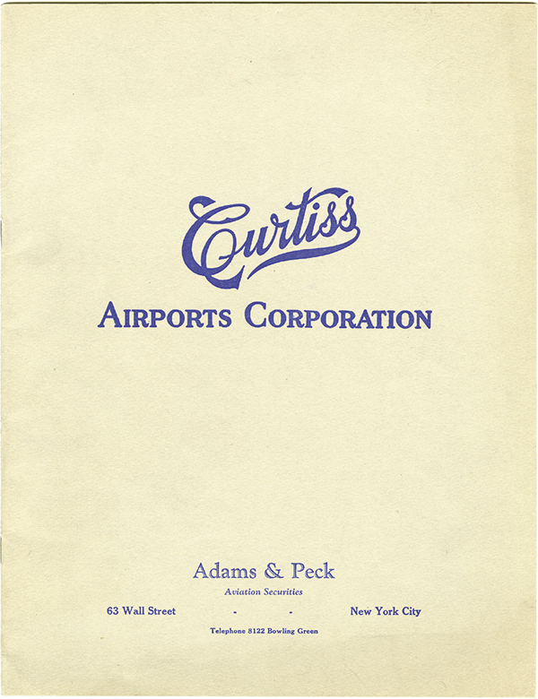 Curtiss Airports Corp., ca.1920 Prospectus Book