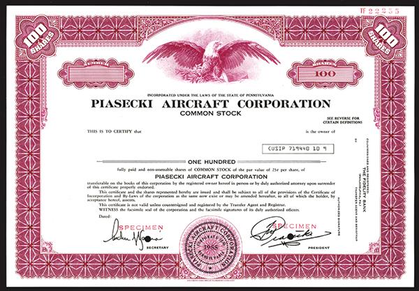 Piasecki Aircraft Corp., ca.1980 Specimen Stock