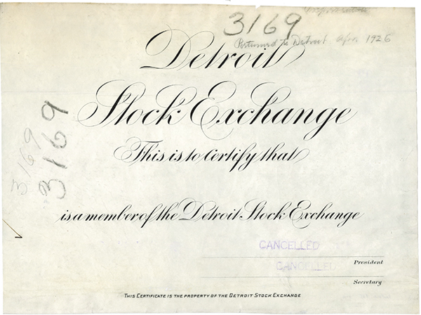 Detroit Stock Exchange Proof Certificate, 1926