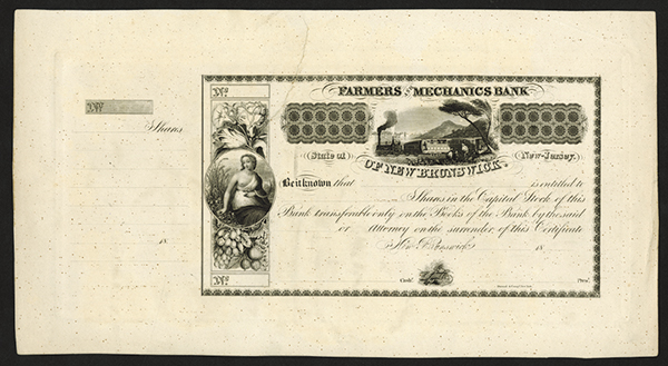 Farmers and Mechanics Bank of New Brunswick, ca. 1830's Proof Stock Certificate.
