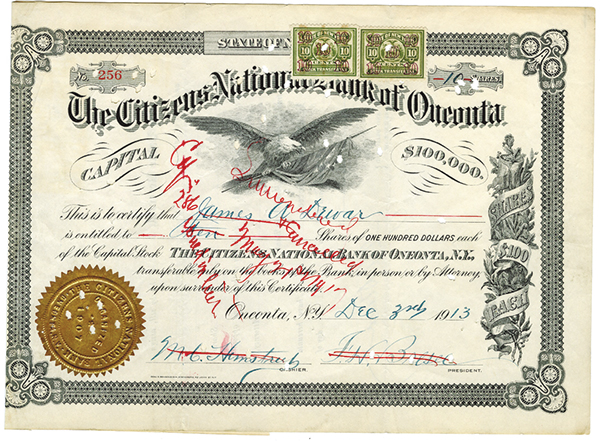 Citizens National Bank of Oneonta, 1913 Issued Stock