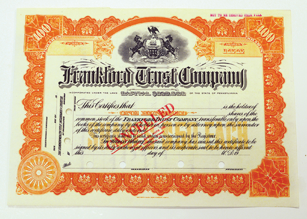 Frankford Trust Co, ca.1920-30 Canceled Stock