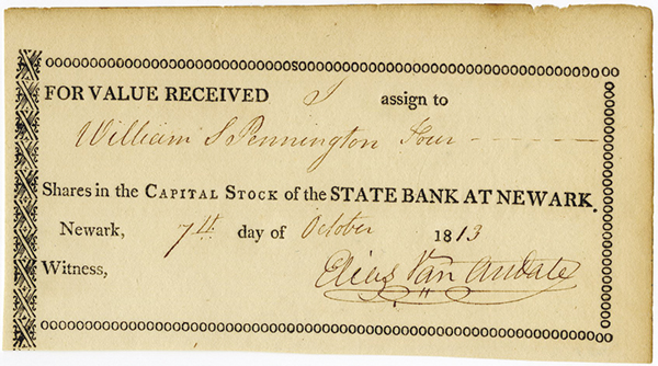 State Bank of New Jersey, 1813 Stock Transfer