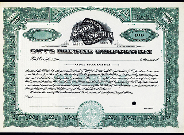 Gipps Brewing Corp., ca.1920 Specimen Stock.