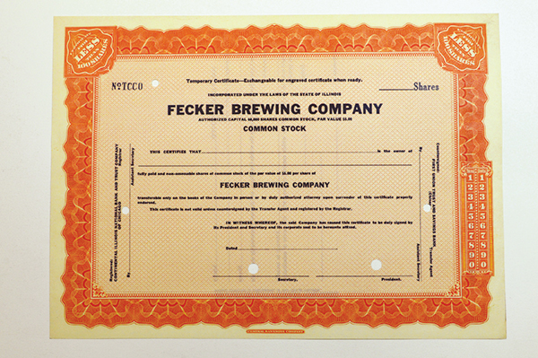Fecker Brewing Co. 1930-40's Specimen Stock Certificate.