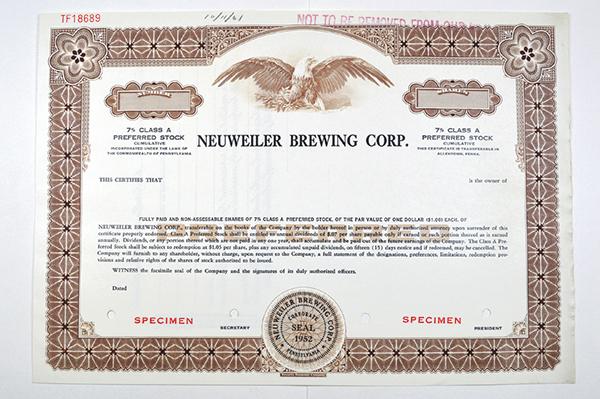 Neuweiler Brewing Corp., ca.1970-1980 Specimen Stock