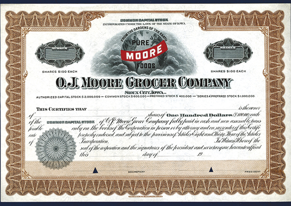 O.J.Moore Grocer Company, ca.1910 Specimen Stock.