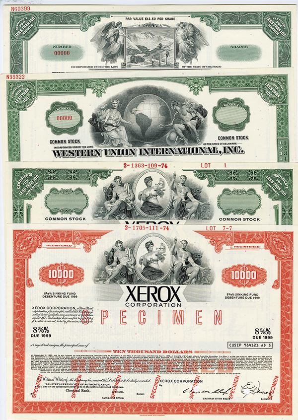 Communication and Technology Specimen Stock Certificate Assortment, ca.1940-70.