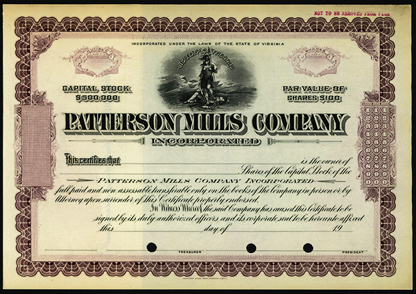 Patterson Mills Co., ca.1940-1950 Specimen Stock.