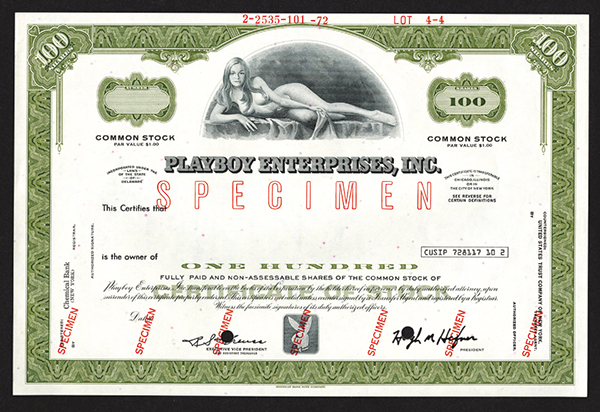 Playboy Enterprises, Inc. 1972 Specimen Stock Certificate.