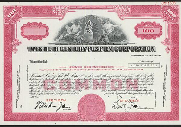 Twentieth Century-Fox Film Corp., ca.1970-1980 Specimen Stock.