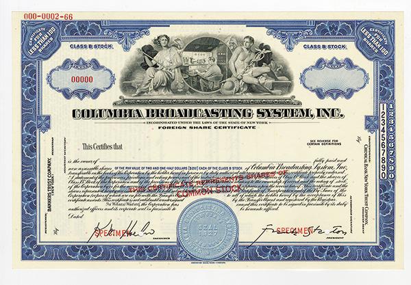 Columbia Broadcasting System, Inc., ca.1940-50's Specimen Stock