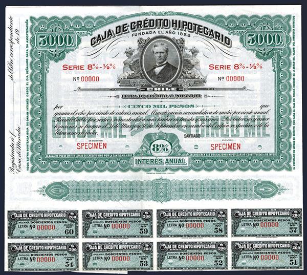 Caja De Credito Hipotecario, ca.1920 Specimen Bond.