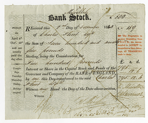 Bank Stock - Bank of England Interest Payment dated 1840.