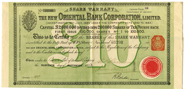 New Oriental Bank Corp., 1885 Issued Stock