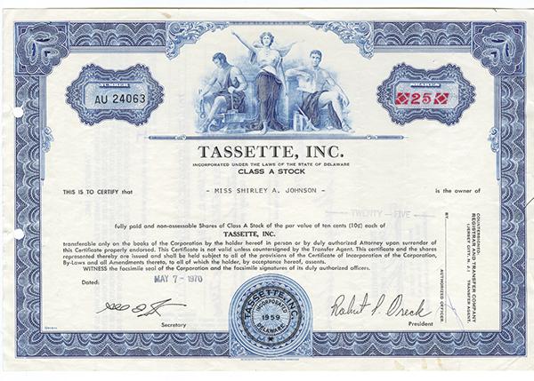 Tassette, Inc. 1970.