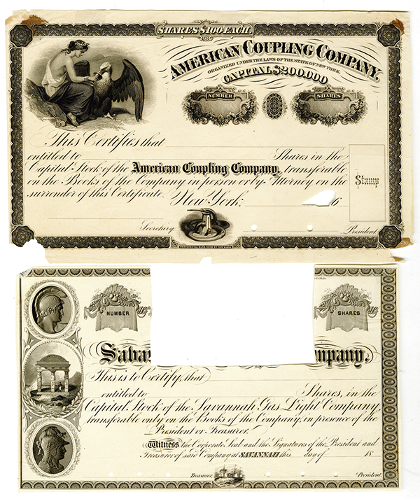 American Coupling  Co. and a Georgia related ca.1860's Proof Stock Certificate Pair.