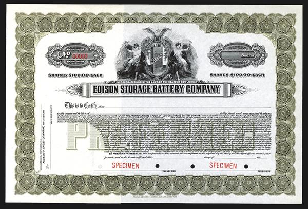 Edison Storage Battery Company,  ca. 1917 Specimen.