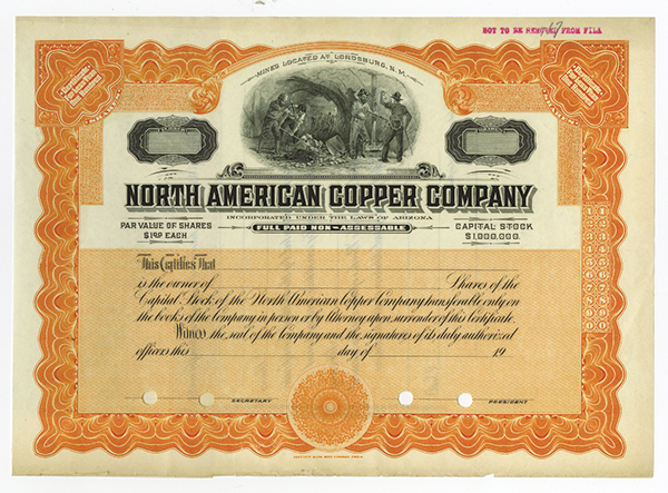 North American Copper Co., ca.1900-1920 Specimen Stock