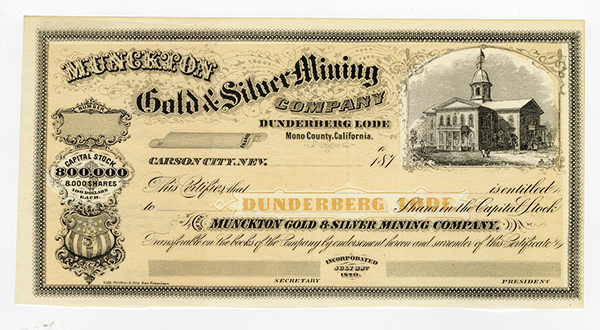 Munckton Gold and Silver Mining Co., ca.1870 Unissued Stock.