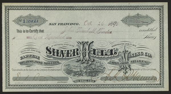 Silver Hill Mining Co. 1892 Stock Certificate.