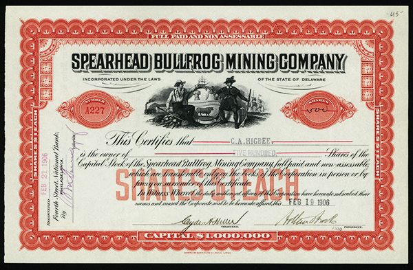 Spearhead Bullfrog Mining Co., 1906 Issued Stock.