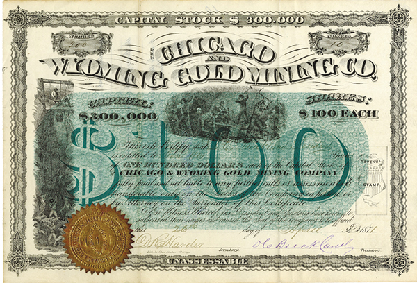 Chicago, Wyoming Gold Mining Co., 1871 Issued Stock