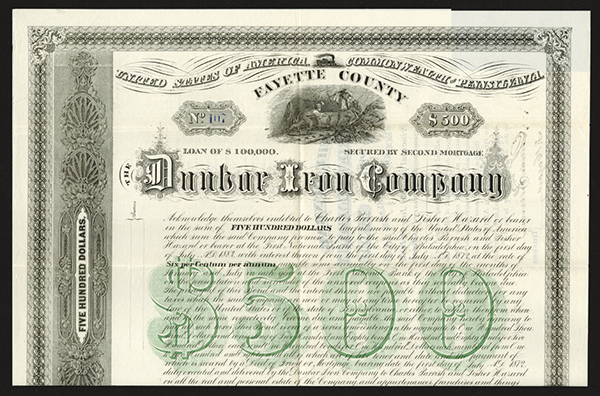 Dunbar Iron Co., 1872 Issued Bond