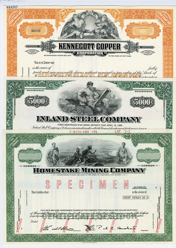 Mining and Steel Company Specimen Stock Certificates, ca.1940-50's.