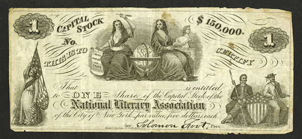National Literary Association, ND, ca.1860's Stock Certificate.