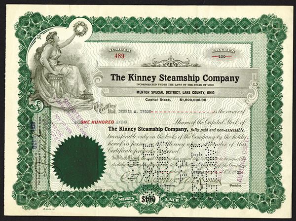 Kinney Steamship Co., 1920 Stock Certificate.