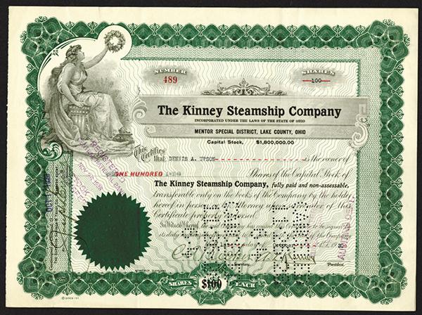 Kinney Steamship Co., 1920 Stock Certificate.
