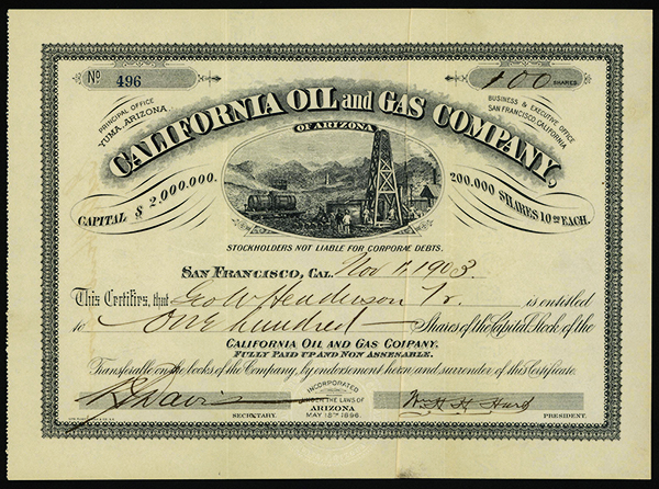 California Oil and Gas Co., 1903 Issued Stock.