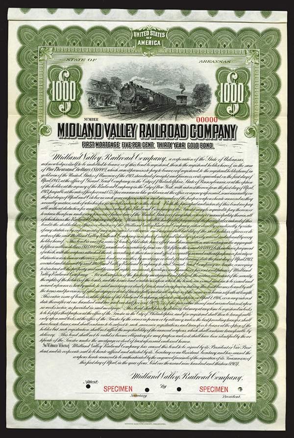 Midland Valley Railroad Co., 1913 Specimen Bond