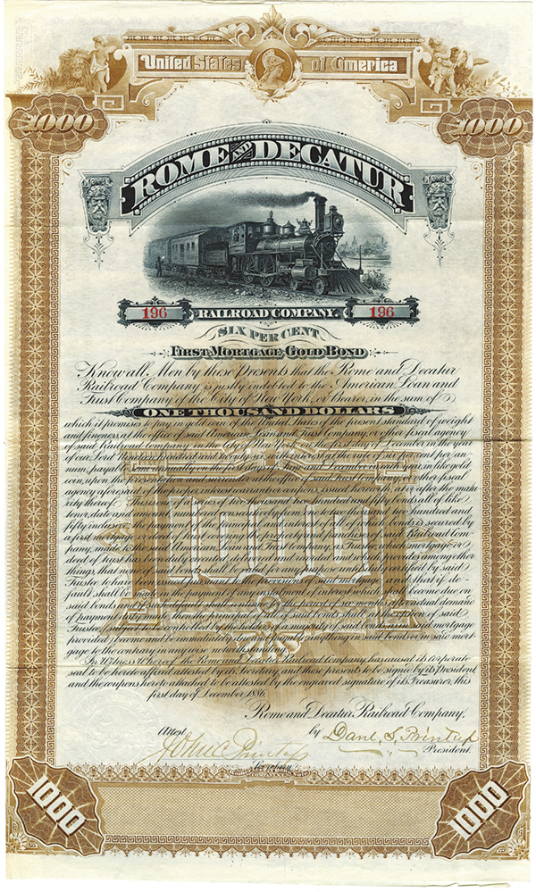 Rome and Decatur Railroad Co., 1886 Issued Bond