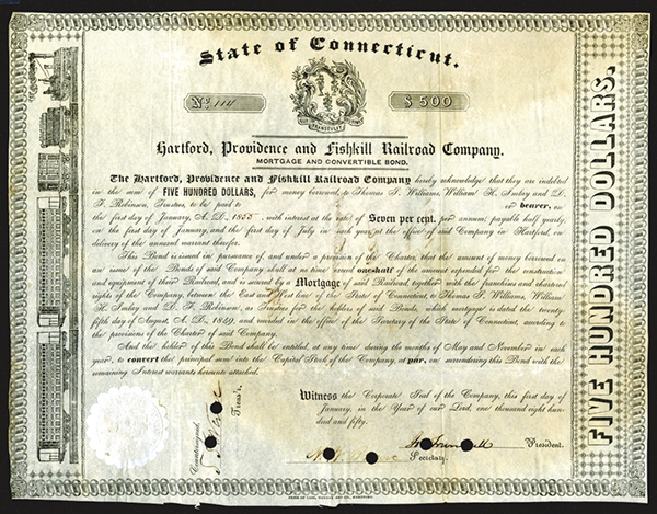 Hartford, Providence and Fishkill Co., 1850 Canceled Bond