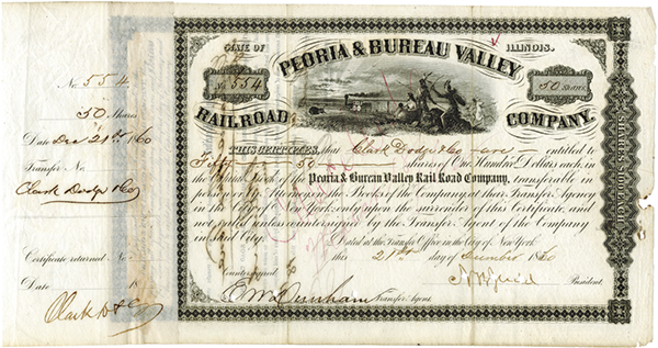 Peoria and Bureau Valley Railroad Co., 1860 Issued Stock Signed by N.B. Judd, Lincoln's Campaign manager.