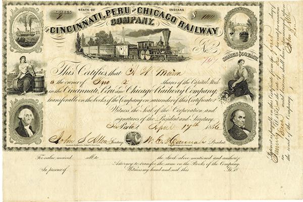 Cincinnati, Peru and Chicago Railway Co., 1856 Issued Stock Certificate.