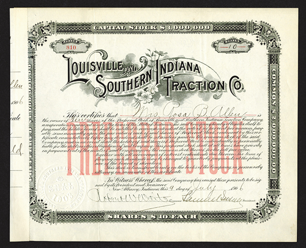 Louisville & Southern Indiana Traction Co. 1906 Signed by Samuel Insull as President.
