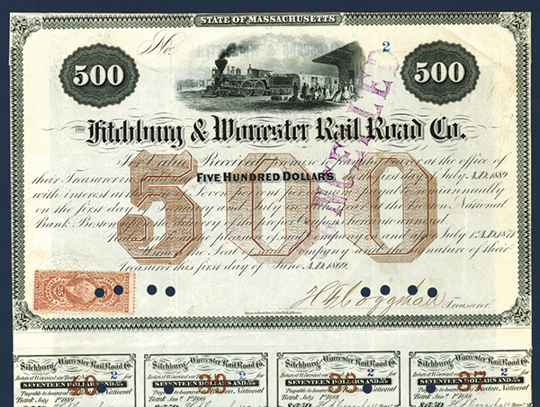 Fitchburg & Worcester Rail Road Co., 1869 Issued Bond.