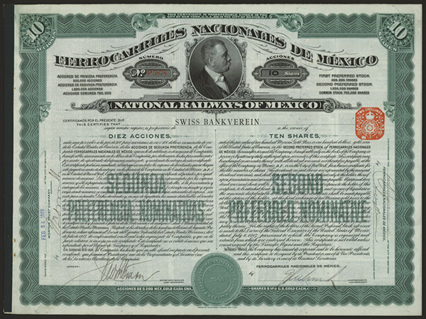 National Railways of Mexico, 1907 Issued Stock.