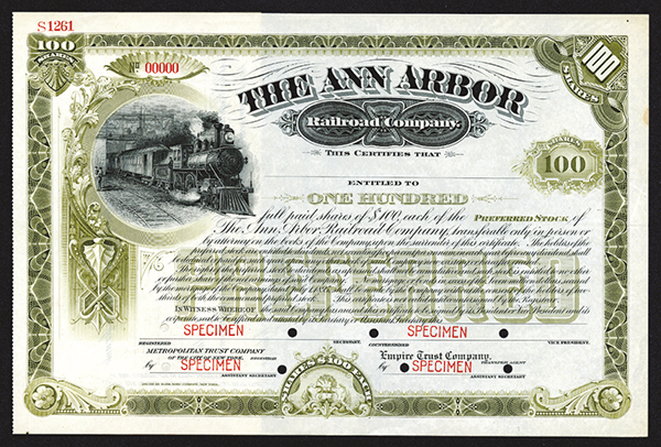 Ann Arbor Railroad Co. ca.1900  Specimen Shares.